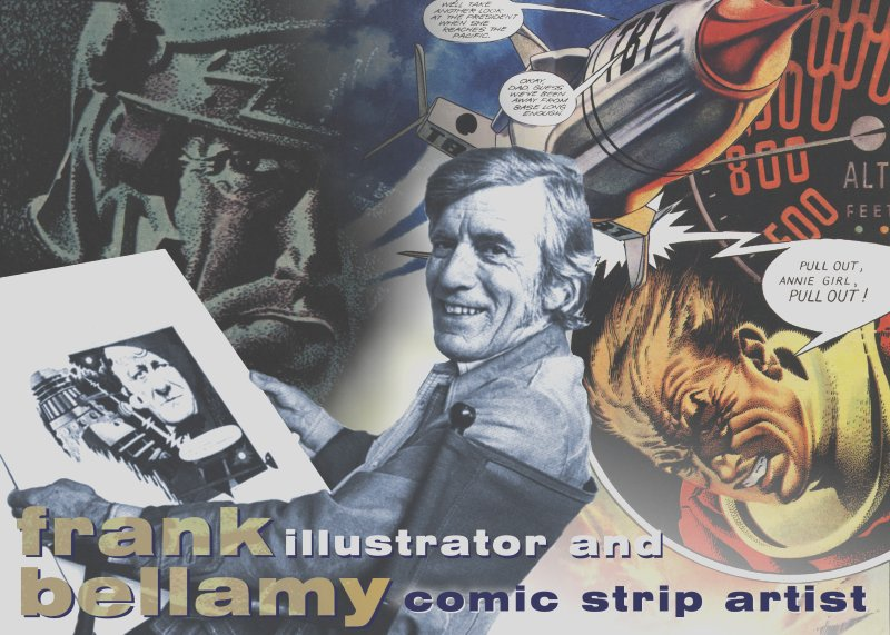 Frank Bellamy amongst many of his pieces of artwork